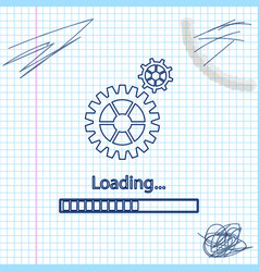 Loading and gear line sketch icon isolated on vector