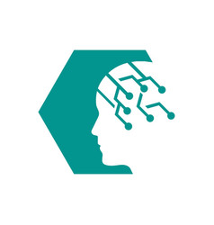 machine learning logo design brain ai technology vector image