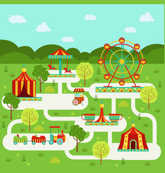 map of amusement park with attractions vector image