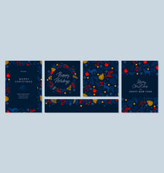 merry christmas and happy new year holiday cards vector image