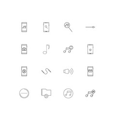 Music linear thin icons set outlined simple icons vector