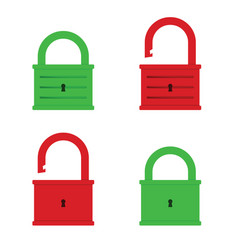 padlock icon green and red color vector image
