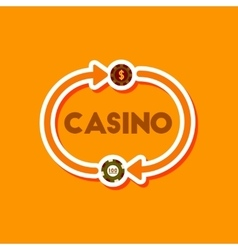 Paper sticker on stylish background poker casino vector