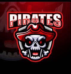 Pirate skull esport mascot logo design vector