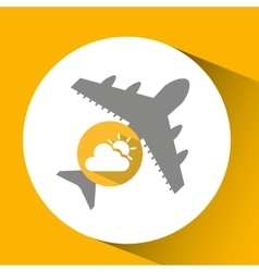 Plane travel weather forecast cloud sun icon vector