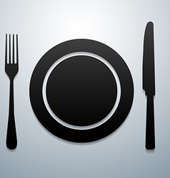 Plate knife and fork vector image vector image