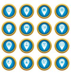 Points interest icons blue circle set vector
