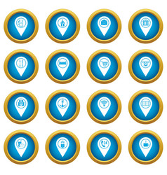 Points of interest icons blue circle set vector