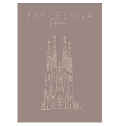 Poster barcelona sagrada familia brown vector