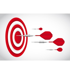 Red darts with dartboardd over gray background vector
