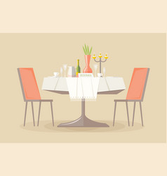 reserved restaurant or cafe table with tablecloth vector image
