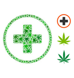 Rounded plus composition of cannabis vector