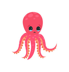 sad octopus character with tears in his eyes vector image