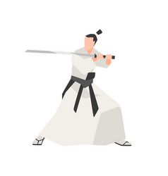 samurai knight isolated on white background vector image