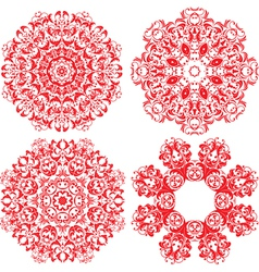 Set of 4 one color round ornaments Lace floral vector image