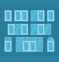 set of white plastic windows vector image