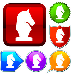 Set shiny icon series on buttons chess vector