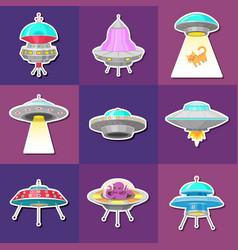 set ufo stickers alien spaceships vector image