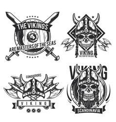 set viking emblems vector image