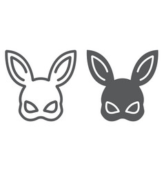 Sex rabbit mask line and glyph icon sex toy and vector