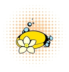 Shell and flower icon comics style vector image