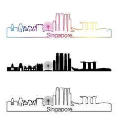 Singapore V2 skyline linear style with rainbow vector