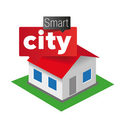 Smart city house icon vector