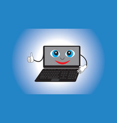 Smiling animate laptop isolated gradient vector