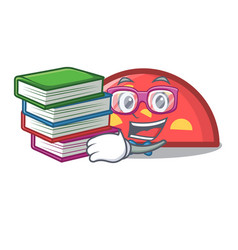 student with book semicircle mascot cartoon style vector image