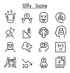 Stupid foolish silly icon set in thin line style vector