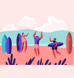surf party on exotic seaside resort sportsmen vector image