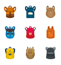 tourist backpack icon set flat style vector image