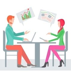Two sitting sideways at the table business people vector