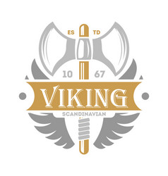 Viking vintage isolated label with poleaxe vector