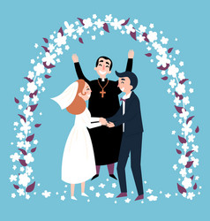 Wedding ceremony arch happy priest and newlyweds vector