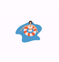 woman relaxing on a rubber ring in sea vector image