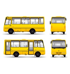 Yellow minibus draft template isolated over white vector