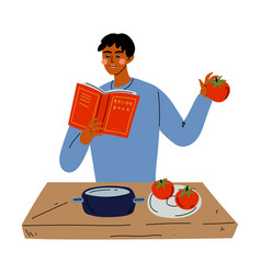Young man reading book recipes and cooking in vector