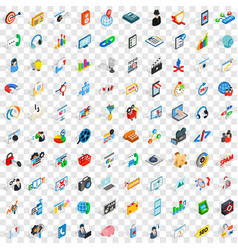 100 seo and web icons set isometric 3d style vector image vector image