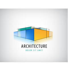 abstract 3d architecture sign building vector image