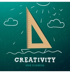 Creativity learning Sailing ship with wooden vector image