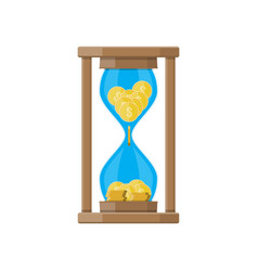 Hourglass clocks with dollar coins inside vector