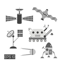isolated grayscale space cosmos elements shuttle vector image