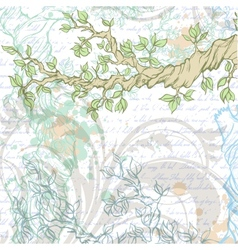Light vintage garden background with tree branch vector image vector image