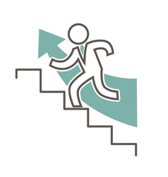 outlined character in suit that runs up stairs vector image vector image