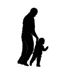 silhouette of a man and a small child vector image