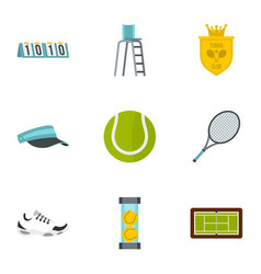 tennis icons set flat style vector image vector image