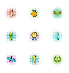 Victory icons set pop-art style vector image
