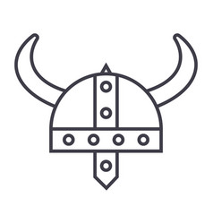 viking helmet line icon sign vector image