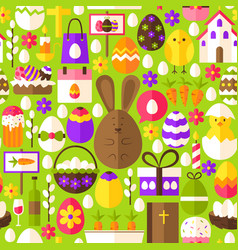 green easter seamless pattern vector image
